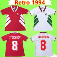 equipes de futebol jerseys vermelhos venda por atacado-1994 Bulgária Retro World Cup camisa de futebol da equipe nacional de casa vermelha branca 94 camisa de futebol Do Vintage # 8 STOICHKOV # 3 IVANOV # 22 ANDONOV