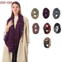 gravatas de inverno venda por atacado-Xadrez Infinito Lenço 40 * 85 cm Grade de Inverno Anel de Verificação Lenço Ao Ar Livre Quente Loop Wraps Gravatas 7 Cores LJJO7152