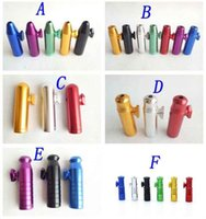 Wholesale metal snuff dispenser resale online - Aluminum metal Bullet Rocket Shaped Snuff Snorter Sniff Dispenser Nasal Endurable For Tobacco Cigarette Smoking Pipe Tools colors style