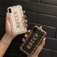 couverture dorée pour iphone achat en gros de-Etui pour téléphone avec étoile noire et dorée blanche Etoiles dorées blanches pour IphoneX XSmax Iphone 7P / 8P 7/8 6 / 6sP 6 / 6sPlus Mode Couverture arrière créative