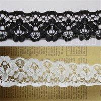 siyah dantel kumaş düzeltme toptan satış-1 Yard Çiçek Dantel Kenar Trim Şerit 35mm Genişlik Beyaz Siyah Abartı İşlemeli Kumaş Bant Dikiş Zanaat Şapka Çanta Elbise Bezeme