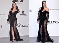 cannes siyah elbise toptan satış-Sırf Uzun Kollu Siyah Dantel Ünlü Abiye Cannes Film Festivali 2019 Seksi Ön Bölünmüş Kapalı Omuz Artı Boyutu Balo Abiye