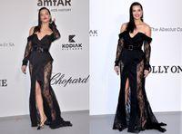 cannes schwarzes kleid groihandel-Sheer Long Sleeves Black Lace Promi-Abendkleider In Cannes Film Festival 2019 Sexy Front Schulterfrei Plus Size Abendkleider