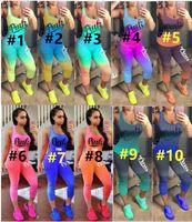 heiße goldgamaschen großhandel-ROSA Frauen Trainingsanzug Zweiteiler Outfits Kurze Ärmellose Röhrenhose Sportanzug Bodycon Leggings Sommerkleidung HEIßER Verkauf 10
