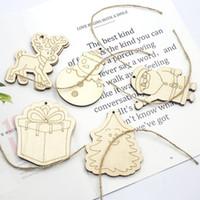 Wholesale kids crafts home resale online - 2Pcs Christmas Star Wooden Pendants Ornaments Xmas Tree Ornament DIY Wood Crafts Kids Gift for Home Christmas Party Decorations