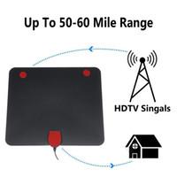 télévision numérique blanche achat en gros de-USB Antenne Tv Numérique Intérieure 50-100 Milles Signal Signal 1080P Amplifié HDTV Blanc Noir avec Antenne Réceptrice