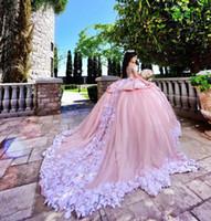wunderschöne weiße quinceanera kleider großhandel-Wunderschöne rosa mit weißen Applique Quinceanera Kleider Ballkleid schiere Hals Custom Made Prom Kleider Tüll Tiered