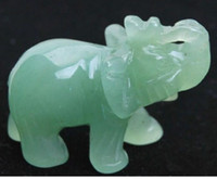 Wholesale statues for sale - Group buy New Chinese Green jade Carved Elephant Small statue
