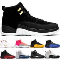 erkek ayakkabıları boyutu 13 toptan satış-HavaÜrdün12 Retro Basketbol Ayakkabı 12s Erkekler Kadınlar Ters Taksi Siyah Sıcak Punch FIBA Atletik Antrenör Spor Spor ayakkabılar Boyutu 40-47