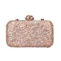 Wholesale party pink clutches for sale - Group buy Pink sugao crystal Luxury evening bag shoulder bag Bling party purse Top diamond Boutique Gold silver women wedding Day clutch bag