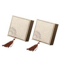 льняные подвески оптовых-2 шт. коробка подарка ювелирных изделий белье коробка ювелирных изделий упаковывая дисплей для кольца подвески ожерелья подарочные коробки