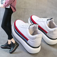 Wholesale red long shoes for sale - Group buy Long way to go thicksoled muffin shoes womens leather shoes womens small white rainbow sports European Station Spring