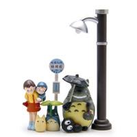 regenschirm licht gesetzt großhandel-7 stücke Studio Ghibli Mein Nachbar Totoro Regenschirm Set Modell Regennacht straßenlaterne Briketts PVC Actionfiguren Puppen spielzeug geschenk