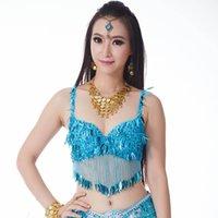 trajes de dança de diamante venda por atacado-Costumes Dança Oriental New Arrival Twinkling lantejoulas Bra Top frisada Fringe dança do traje sexy de suspensão Coin Diamante