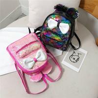 Wholesale small baby girl backpack resale online - 2020 New Cute Baby Girls Sequins Backpack Glitter Bling School Bag Kids Toddler Bowknot Small Mini Rucksack