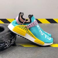 ingrosso marchi di cravatta famosi-2020 NMD Human Race Pharrell Williams Uomo In esecuzione marche famose Scarpe PW HU Holi Tie Dye Equality Designer donna Sport Sneakers con scatola O2