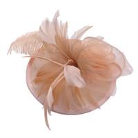 tapa de avestruz al por mayor-Novia Sombrero Decorativo Elegante Avestruz Flaxen Británico Elegante Fiesta Fotografía de boda Banquete Sombrero Gorra Tocado Prop
