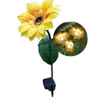 luces de jardín amarillas cálidas al por mayor-La energía solar al aire libre accionó las lámparas de las luces solares de la flor amarilla del girasol para la iluminación del paisaje del jardín