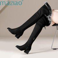 ingrosso stivali in lana di lana alti del ginocchio-Nuovi stivali in vera pelle Stivali invernali alti fino al ginocchio per donne Scarpe in pelliccia di lana calda Tacchi bassi Piattaforma Marca MAZIAO lungo