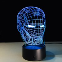 veilleuse iron man achat en gros de-Ironman Head 3D Led Night Light Iron Man Mark Colorful USB LED Lampe de Table Acrylique Éclairage Décoration Super-Héros Jouet