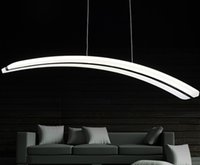 Wholesale living lines resale online - For Parlor dinning room V V long line PC PMMA arc curve crescent moon shape acrylic led pendant light lamp dimmable LLFA