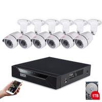 dvr güvenlik kamera sistemi açıkhdd toptan satış-Tonton 8CH 1080 P HD 5-in-1 DVR Kiti Video Gözetim CCTV Sistemi IR CUT 6 ADET 2MP Açık Kapalı Güvenlik Kamera Sistemi 1 TB HDD