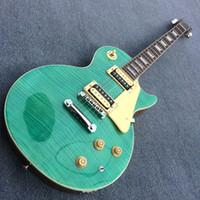 explosión de caoba al por mayor-Custom shop Guitar 1959 R9 Mahogany body Green burst Tiger Flame top, herrajes cromados, China Guitar 180504