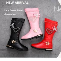 Wholesale long shoes children for sale - Group buy Girls Boots New Fashion Spring Winter Elegant Lace Crystal Long Botas Princess Pu High Boots Litter Big Children Shoes Girl