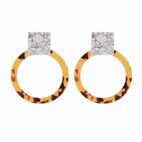 Wholesale accessories ruby stone resale online - Texture Synthetic Stone Leopard Pattern Acrylic Round Sheet Drop Earrings For Women Gifts Fashion Accessories
