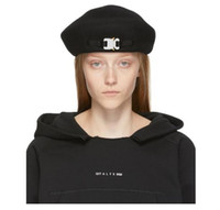 béret en laine derby achat en gros de-2019 1017 ALYX STUDIO LOGO laine hommes béret noir et blanc et les femmes Hip Hop Outdoor rue chapeau chaud