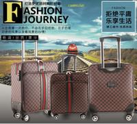 чемоданы высокого качества оптовых-CARRYLOVE Классическая мода, высокое качество 16/20/24/26 дюймов Творчество ПВХ Роллинг Багажник Spinner марки Туристический чемодан