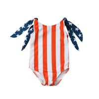 traje de baño banderas al por mayor-4 de julio Niños bandera americana Traje de baño verano 2019 Biquinis bebé Bikinis niños One Pieces Star raya impresión traje de baño C6569