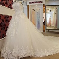 Wholesale lady design wedding dresses online - Strapless Wedding Dresses Mature Ladies White Organza D Flowers Lace Wedding Gowns Long Train Real Pictures Newest Design Bridal Gown