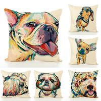 ingrosso vernice jacquard-Cuscino di lino dipinto cane creativo cuscino casa decorazione domestica federa casa tessile