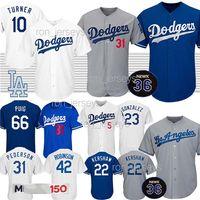kershaw jersey venda por atacado-22 Kershaw Dodgers Jerseys Los Angeles 35 Bellinger Baseball 5 Seager 10 Turner 14 Hernandez 23 Gonzalez 42 Robinson jersey
