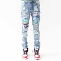 pantalones vaqueros mujer s vintage al por mayor-BRAVADO Jeans ¿Crees que estoy loco? Vintage Street Fashion Pants Hole Hombres y mujeres cómodos Pantalones HFWPKZ071