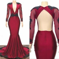 ingrosso ragazze sexy vestiti-Sexy African Hollow Back Beads Mermaid Prom Dresses 2019 Manica lunga Sheer Black Girl Pageant Abiti Da Sera Occasioni Speciali robe de soirée