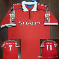 numaraları futbol isimlendirir toptan satış-Manchester United Kadife İsim Numarası 98 99 Adam Beckham Keane Solskjaer Giggs 3 Şampiyonlar Retro UTD Futbol forması 1998 1999 Klasik Futbol Gömlek Camiseta
