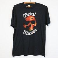 siyah ağır metal toptan satış-vintage Heavy Metal Maniac 1980'lerin gömleği Thrash Black Metal Skull Demon.