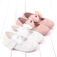 Wholesale baby first walking shoes leather resale online - Love Bows baby shoes princess baby girl shoes Pu leather newborn shoe Moccasins Soft First Walking Shoe infant shoe A8402