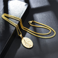 Wholesale cross necklace mens resale online - Fashion Mens K Gold Plated Virgin Mary Pendant Necklace Fashion Hip Hop Jewelry Designer Link Chain Punk Men Necklaces For Men Women Gifts