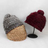 tavşanlar saç yünü toptan satış-Örgü Kulak Cap Ebeveyn-çocuk Yün Şapka Sevimli Kedi Kulaklar Tavşan Saç Kadın Sonbahar Ve Kış Günleri Sıcak Çim şapka EEA212