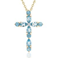 conjuntos de diapositivas de joyería al por mayor-D412 set con cristal blanco collar de plata hembra oro cruz chica joyería colgante amor al por mayor Slide más azul cristal