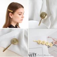 yeni saç tokası toptan satış-2019 Yeni Vintage Barok Altın Medusa Saç Klip BB Firkete Headdress Kız Hairdress Kadın Moda Takı