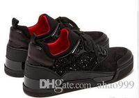 chaussures décontractées mi-longues achat en gros de-Italie Designer Rouge Baskets Casual Sport Hommes Chaussures plates Mid Cut Aurelien Baskets En Velours Et Daim 2019 Nouvel Arrive