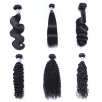 Wholesale 12 body wave weave online - 8A Mink Brazillian Straight Body Loose Deep Wave Kinky Curly Unprocessed Brazilian Peruvian Indian Human Hair Weave Bundles