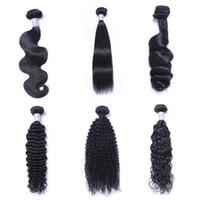 cheveux bouclés pour le tissage achat en gros de-8A Mink bresilien corps droit en vrac vague profonde Kinky Curly Brésilien Péruvien Indien Non traité de cheveux humains Weave Bundles