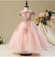 ingrosso ragazza di fiore del merletto di organza dell'abito di sfera-2019 Flower Girl Dresses For Weddings Party Ball Gown Bateau senza maniche con pizzo di applique primi abiti da comunione Bambina