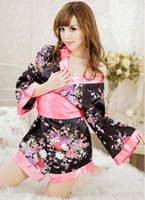 Wholesale hot lingerie kimono online - sexy lingerie japan hot bowknet floral sale sleepwear kimono