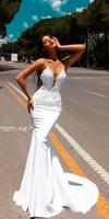 ingrosso vestiti di fidanzamento bianco nero-2019 bianco fidanzamento nero ragazze sirena abiti da ballo abiti da sera formale Abendkleider vesti di mariè con pizzo